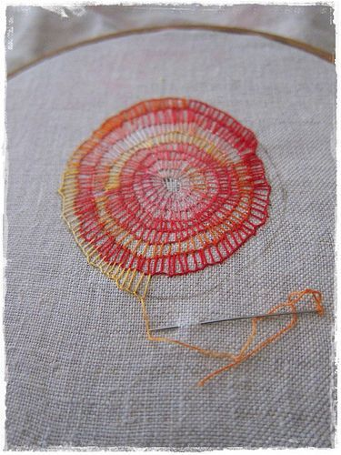 """""""mantra"""" embroidery in progress"""