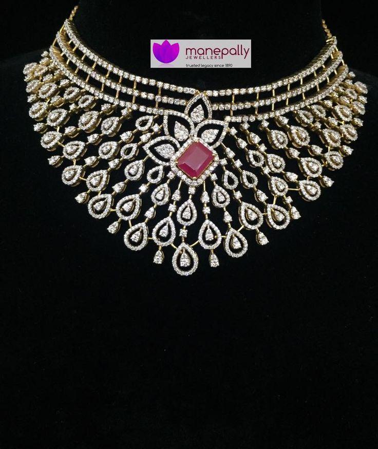 Diamond Choker Necklace from Manepally Jewellers, Diamond Necklace Designs from Manepally Jewellers.