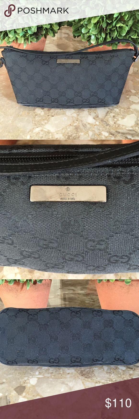 Black on black Gucci monogram pouchette Authentic Gucci black on black monogram pochette Gucci Bags Mini Bags