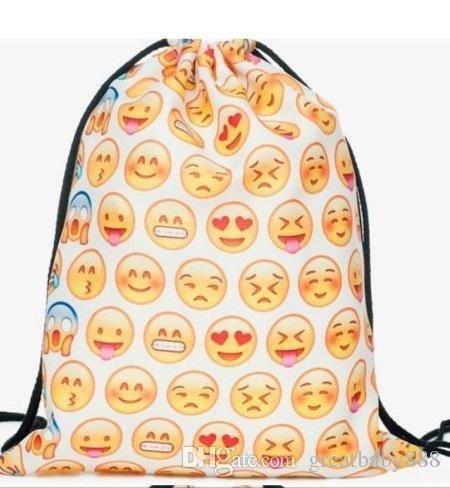2016 New emoji Drawstring bag 3D smile face bag canvas Pouch backpack Children gift C372