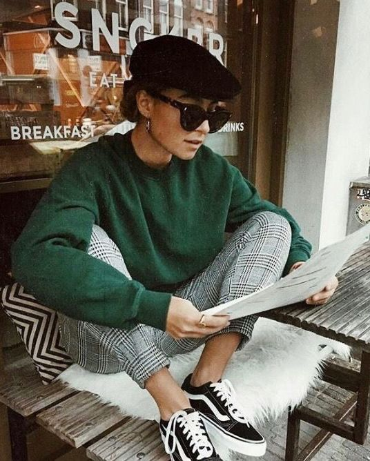 fashion, outfit, french style, sneakers, plaid pants, it girl, ootd, stylish