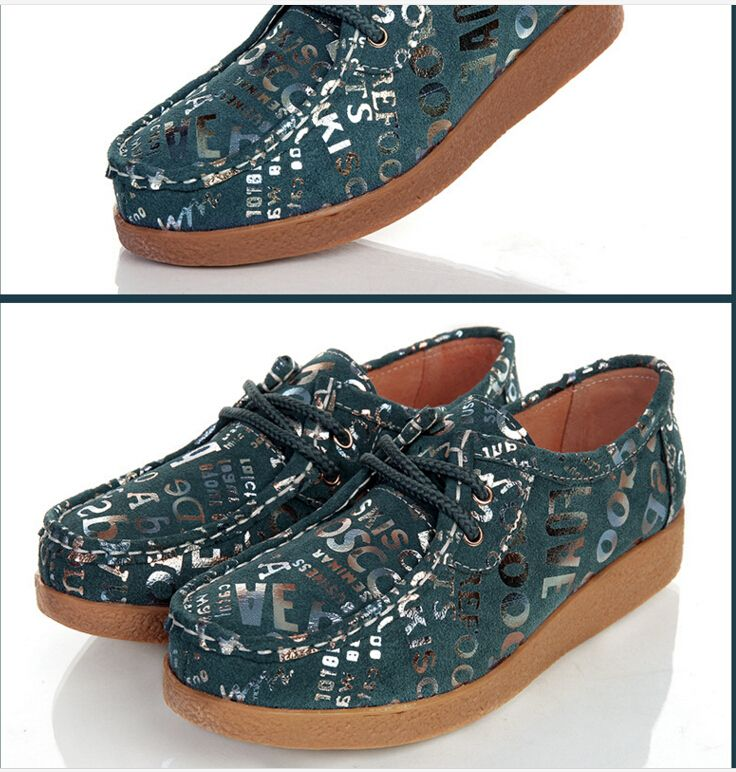 2017 new tide fashion printing ms leisure shoes Flat non-slip with eddy current mother single blue shoes size 35-40