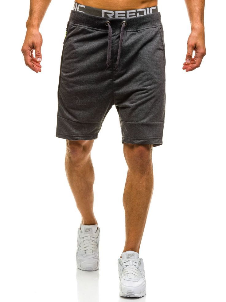 Graphite men's shorts Manufactured for Bolf by J.Style The model (182 cm, 82 kg) is wearing size XL Fabric: 65% Cotton, 35% Polyester