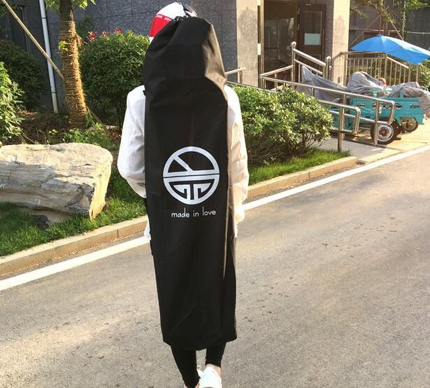 Length 105/118cm Longboard Skateboard Shoulder Backpacks Black Canvas Carrying Bags with Drawstring