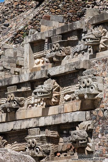 Stone carvings at the Temple of Quetzalcoatl at the Teotihuacan archeological site in Mexico.