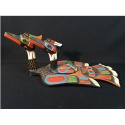 JIMMY JOSEPH, KWAKIUTL DOUBLE LOON BOWL, HAND CARVED AND PAINTED. SIGNED ON THE…