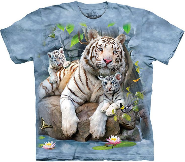 The Mountain WHITE TIGERS OF BENGAL Cub T-Shirt S-3XL NEW #TheMountain #GraphicTee