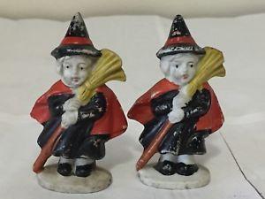 2 1930's Bisque Porcelain Ceramic Witch Halloween Figurines Japan (~$90 @ 45 each) 2017 #vintage #Halloween #collectibles