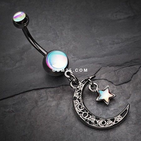 Hematite Crescent Filigree Moon Star Sparkle Belly Button Ring