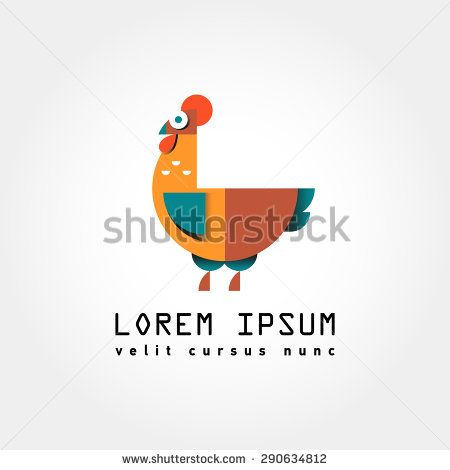 Chicken, rooster logo. Flat Elements. Vector illustration hen . Laybel for market, farm, zoo, veterinary clinic. Flat modern design. Stylized cock