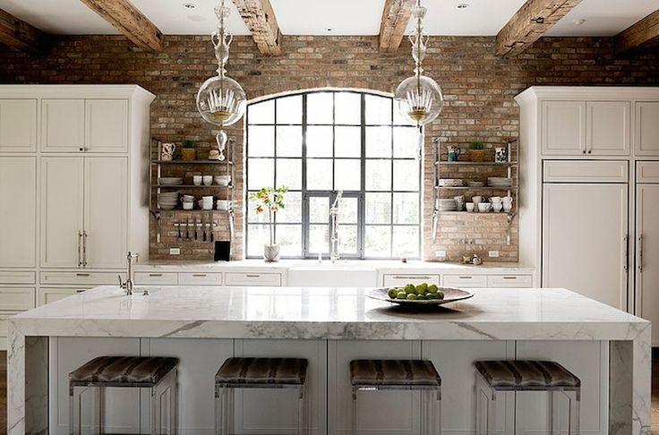 Thompson custom homes kitchens loft kitchen loft for Exposed brick kitchen ideas
