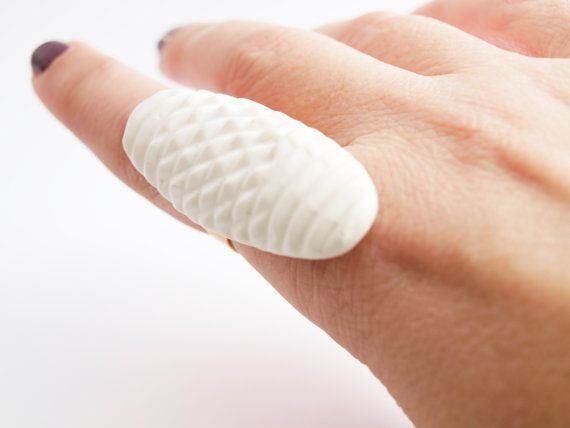 White Polymer Clay Ring Patterned Oval Shaped Geometric by bibigo