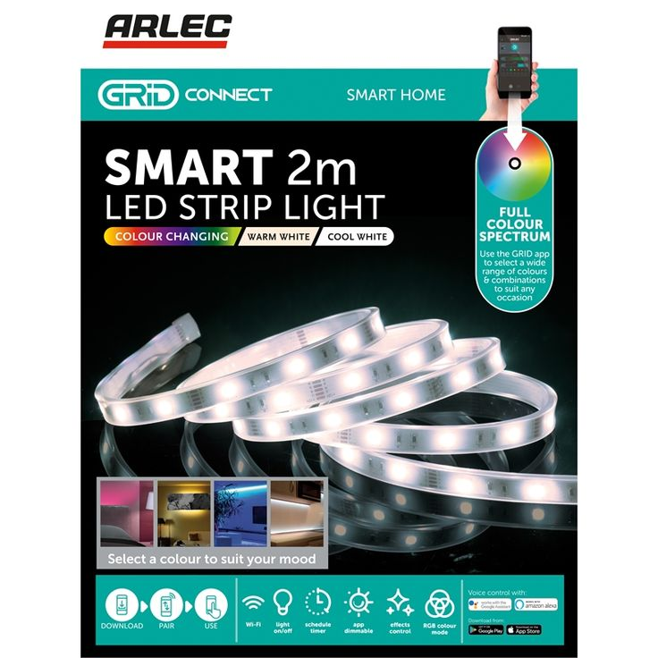 Arlec 2m LED White Smart Colour Changing Strip Light With