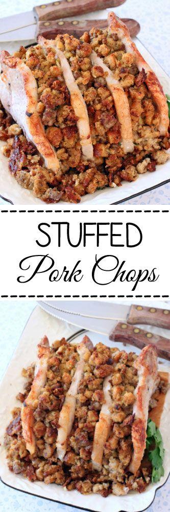Stuffed Pork Chops #pork #stuffedpork #dinnertonight