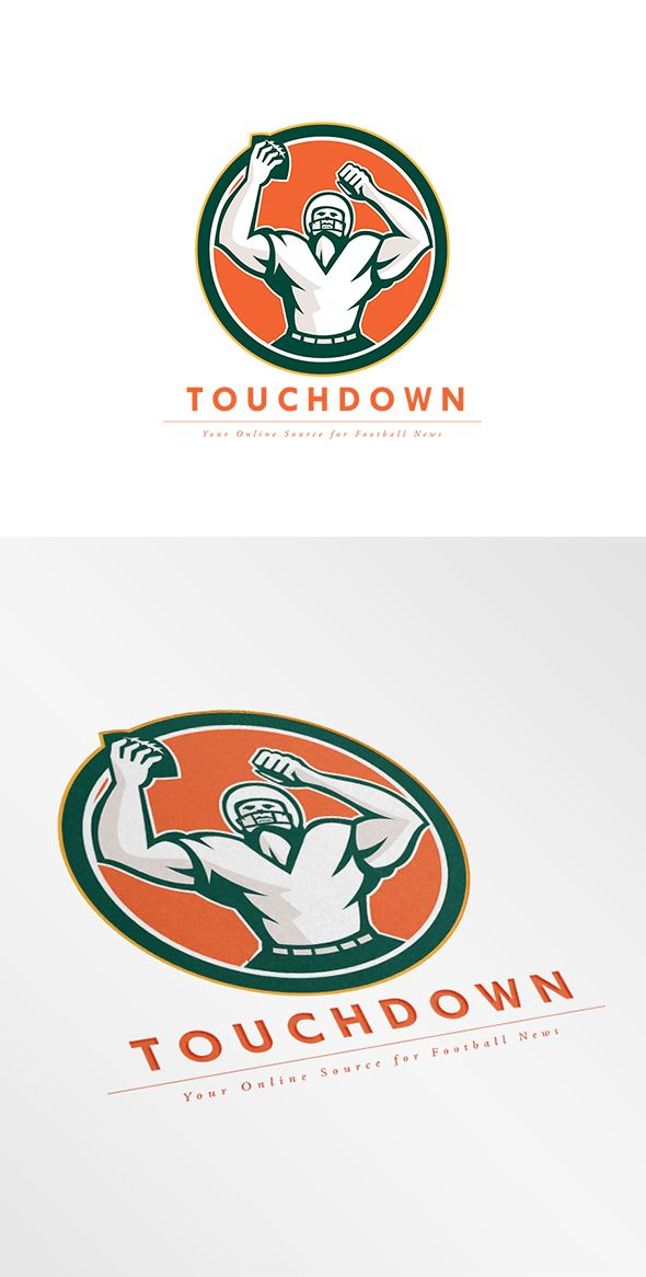 Touchdown Football News Agency Logo . Logo showing illustration of an american football with helmet holding ball over head celebrating viewed from the front set inside circle on isolated