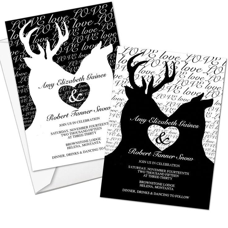 Custom Deer Themed Wedding Invites with Envelopes