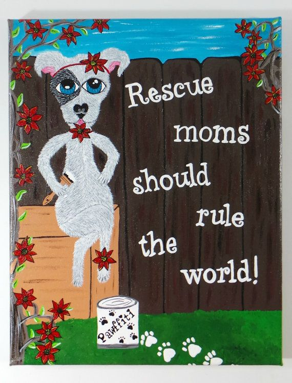 Dog Rescue Art Pit Bull Painting Pit Bull Art Dog by TheRescueMama