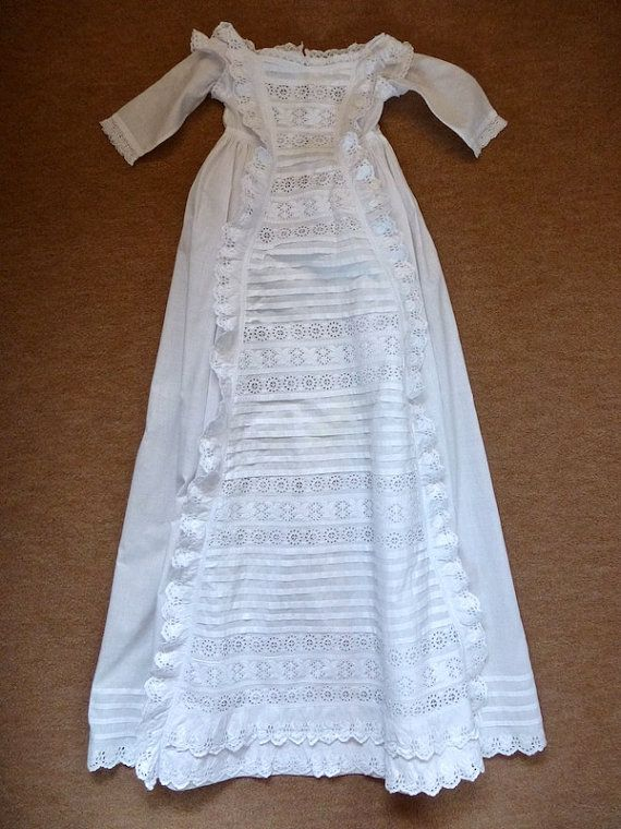 Antique Victorian Christening Gown And Petticoat C1890