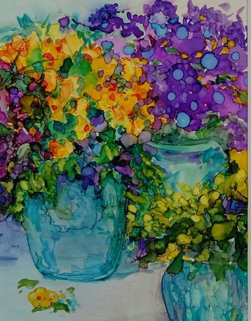 Alcohol Ink Art Flowers in Pots by Carolyn Opderbeck♥♥