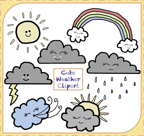 Weather Clipart, Cute Weather Clipart, Weather Images, Clouds Clipart, Sun Clipart, Clipart png, Digital Clipart, Graphic, Instant Download