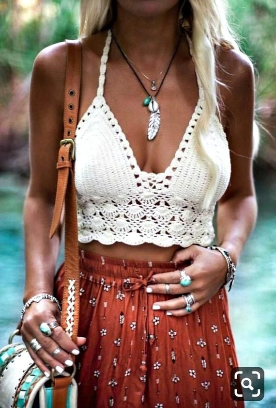 Blue crochet halter bra bikini gypsy hippie boho Summer festival top Size Small Free Shipping