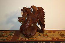 Dragon Estatua De Madera Tallada A Mano Bali Hermoso protección sabiduría & Strength