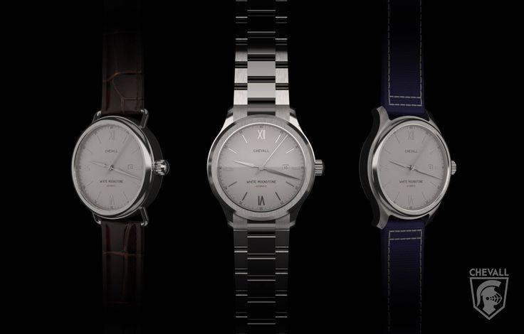 Chevall White Moonstone with automatic Miyota movement. Kickstarter soon. #BeChevall #cavalier #watch #mensfashion #mensstyle #kickstarter https://instagram.com/chevall_watches/