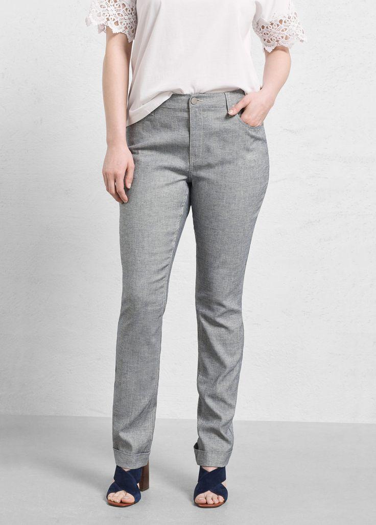 Kalhoty ze směsi lnu a bavlny - Kalhoty Velké velikosti   Violeta by MANGO Česká republika
