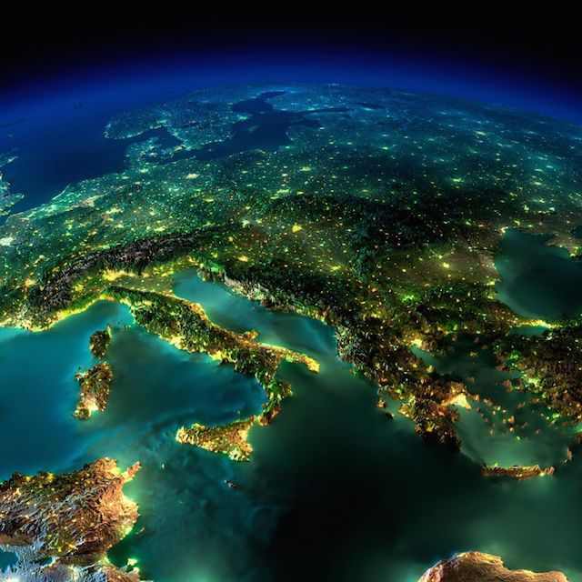 Italy and Greece - earth seen from space at night by nasa (7)