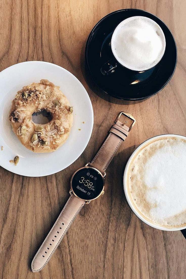 The Q wander rose gold smartwatch will never miss a donut and coffee date reminder. via @ dineandfash