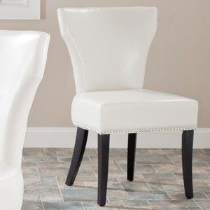 Safavieh Mercer Collection Carter Cream Leather Dining Chair, Set of 2