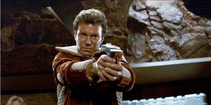 "LOS ANGELES - JUNE 4: William Shatner as Admiral James T. Kirk in the movie, ""Star Trek II: The Wrath of Khan."" Release date, June 4, 1982. Image is a screen grab. (Photo by CBS via Getty Images)"
