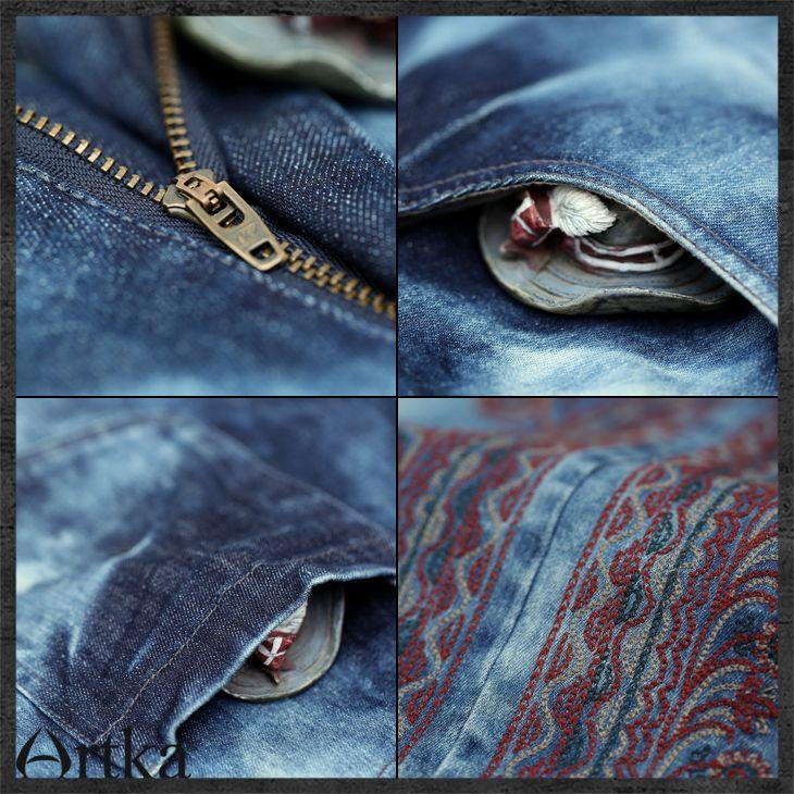 Юбки : Юбка средней длины из джинсовой ткани с орнаментным узором по бокам
