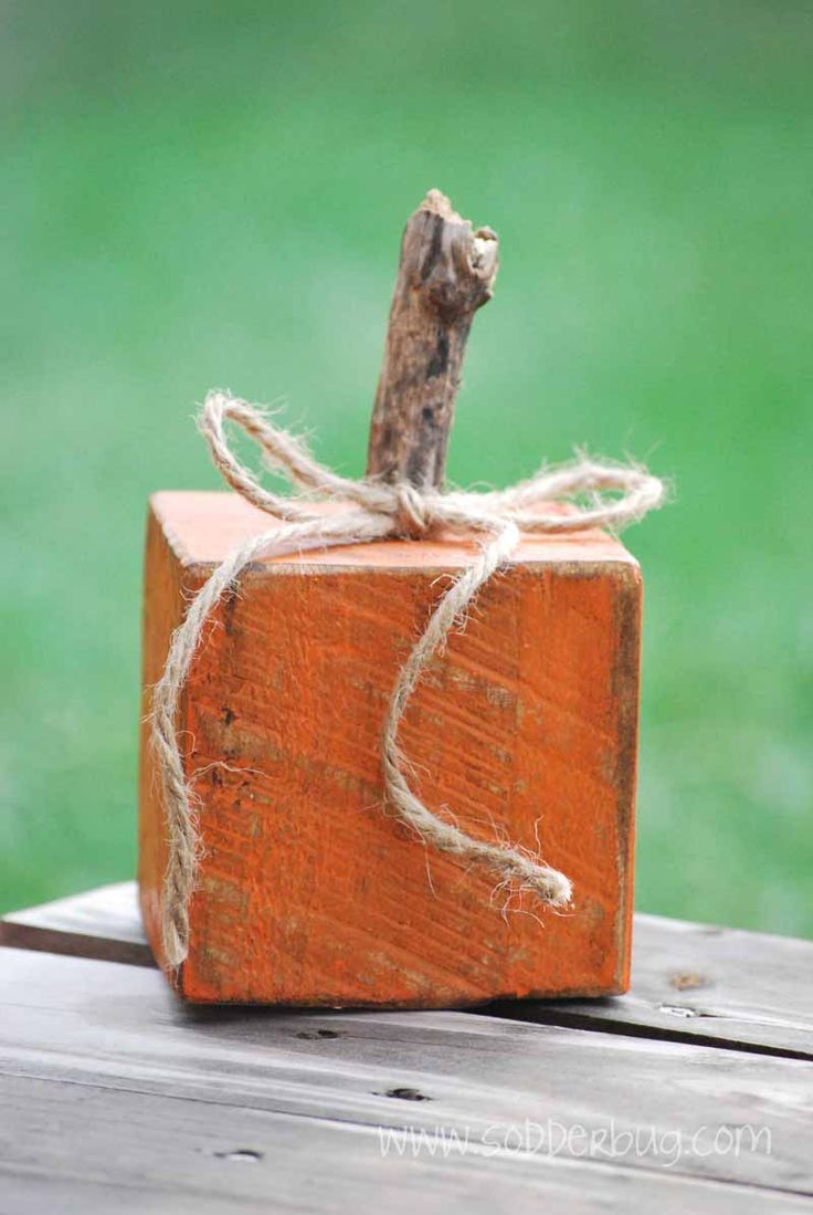 """Barn Wood Pumpkin-Would also be cute using a letter """"P"""" wooden baby block!"""