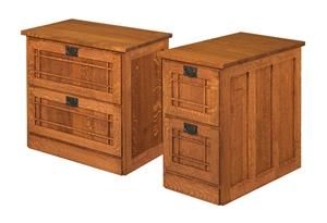 Amish Mission File Cabinet with Two Drawers or Two Drawers Lateral
