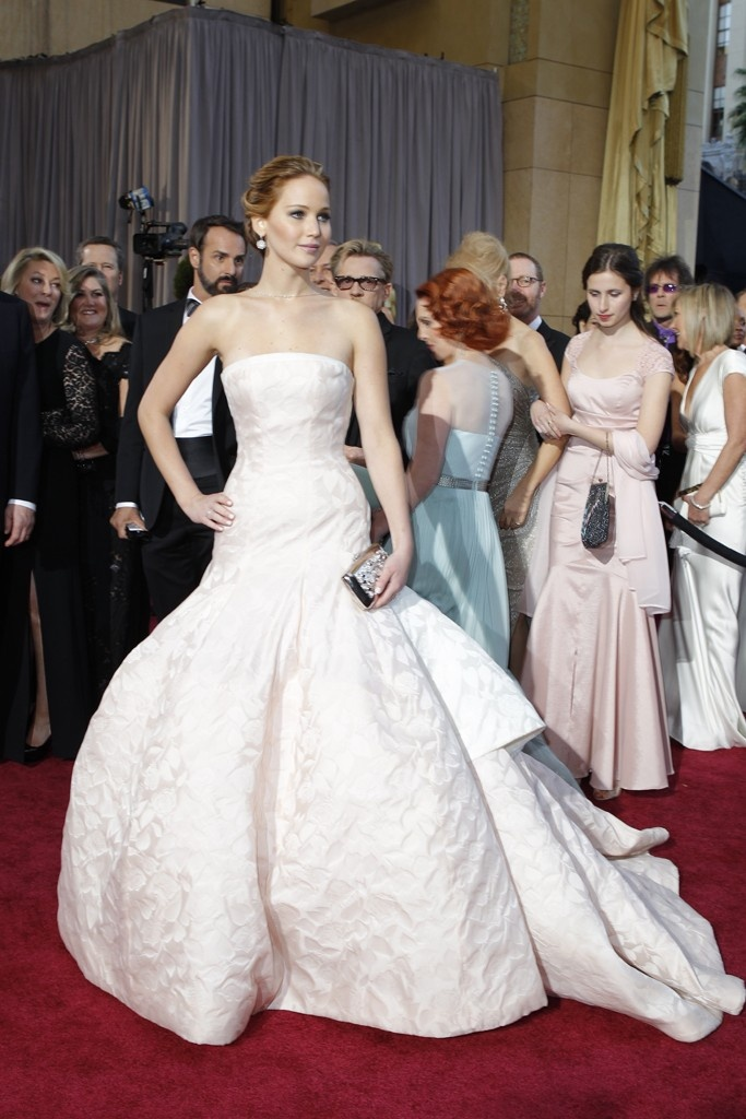 Jennifer Lawrence in Christian Dior Haute Couture and Chopard On the Red Carpet at the Oscars