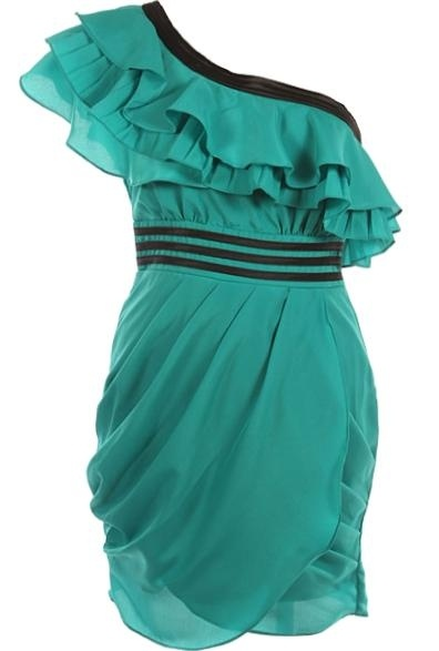 <3 Emerald Waves Dress: Tulip Skirt, Body Shape