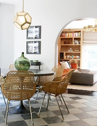 Wicker Chairs metal tulip table