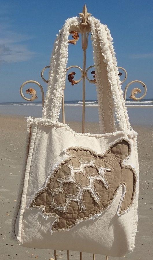 Sea Beach Bag - Sea Turtle Khaki on Ivory