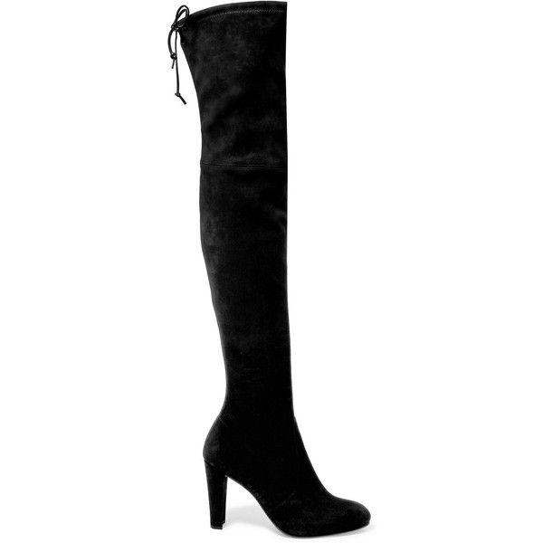 Stuart Weitzman Highland stretch-suede over-the-knee boots ($1,160) ❤ liked on Polyvore featuring shoes, boots, black, black suede boots, thigh-high boots, black thigh-high boots, over the knee stretch boots and stuart weitzman boots