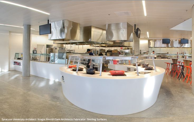 HI-MACS | Syracuse University Dining Hall #Architecture #Cafeteria #SolidSurface