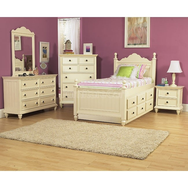 Girls White Bed With Trundle Bedroom Set on samuel lawrence bedroom sets