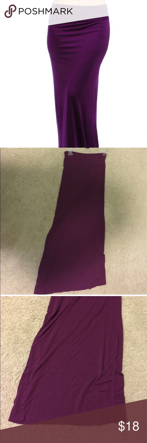 Purple Maxi Skirt Purple/maroon colored fold over maxi skirt. Color best represented in the 3rd pic. No slits on either side. Like new condition. ❌No Trades ❌No Holds ✅Posh Only ✅ Smoke Free Home ✅Offers Considered ✅Special Bundle Deals (just ask!) Rue 21 Skirts Maxi