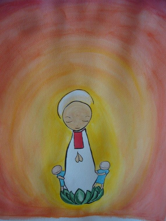 "Art: ""Mizuko Jizo Painting"" by Angie Kenna - In Bhuddism, Jizos are spiritual beings primarily concerned with the dead, and are the protectors of children and women. Mizuko jizos are the special protectors of mizukos, or the ""water children"". These water children are those who are not born alive, who exist in the space between life and death (stillborn, miscarried and aborted children)."