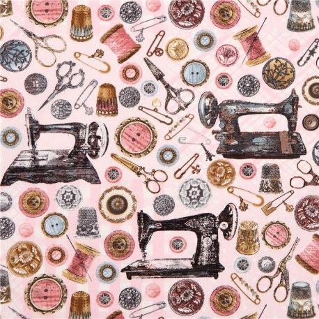 Tela rosa máquina coser retro 'Antique Sewing Tools' de Timeless Treasures