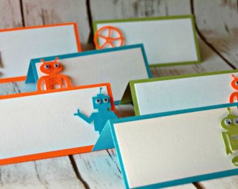 Robot Themed Party Name Tags, Robotics Party Buffet Tags, Building Party Food Names (set of 6)