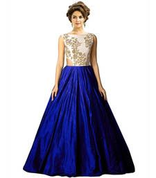Buy Royal blue raw silk embroidered semi stitiched party wear gowns party-wear-gown online