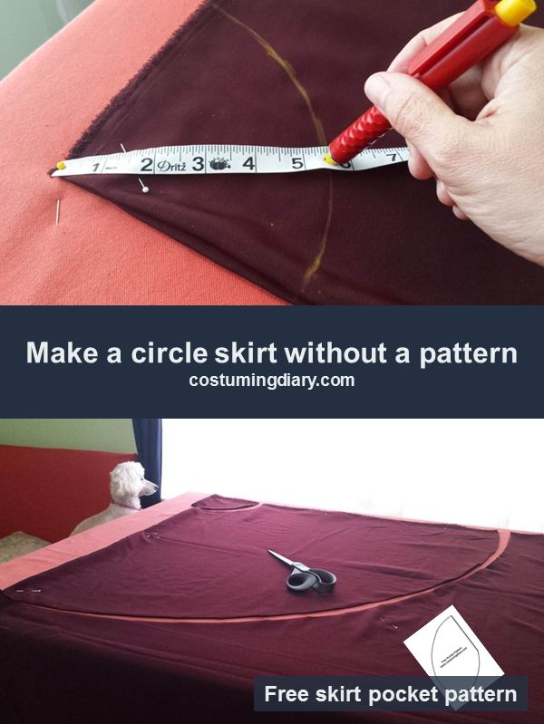 Step by step tutorial on how to make a circle skirt with two seams, an elastic waist, and pockets.