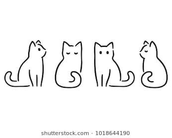 Drawing set of minimalist cats. Doodles in abstrac…