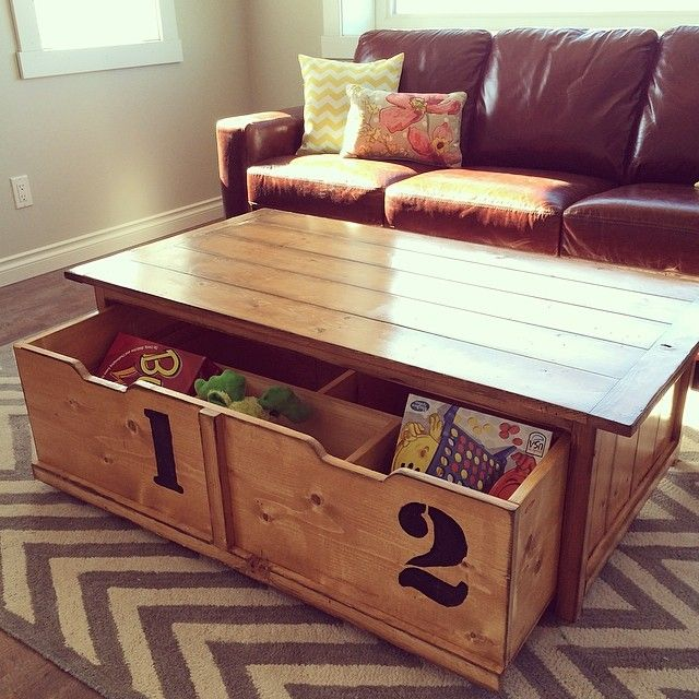 New Baby Means Kid Proofing   Toy Box Trundle Coffee Table + Leather Sofa +  Bright